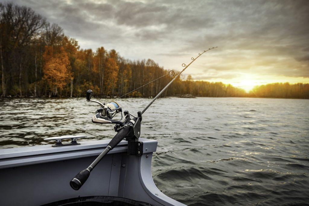 fishing boat, fishing rod, fishing